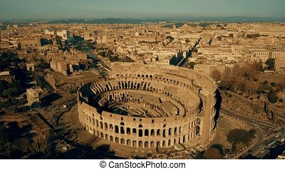Aerial shot of the Colosseum, the most visited landmark of...