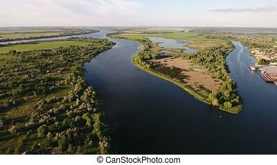 Aerial shot of the curvy Dnipro river inflows and a nice...