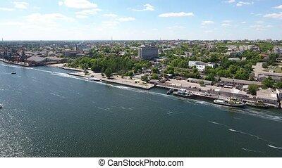Aerial shot of the Dnipro and its riverbanks in Ukraine in a sunny day in summer