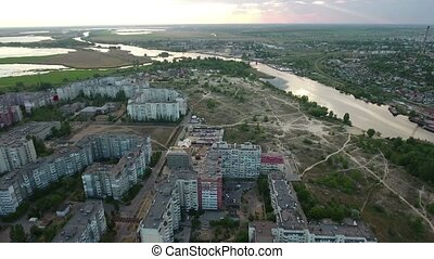 Aerial shot of the Dnipro river and Kherson city quay in...