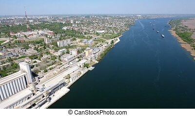 Aerial shot of the Dnipro river embankment in Kherson, Ukraine, in spring