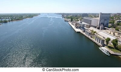 Aerial shot of the Dnipro river quay in Kherson, an Eastern European city