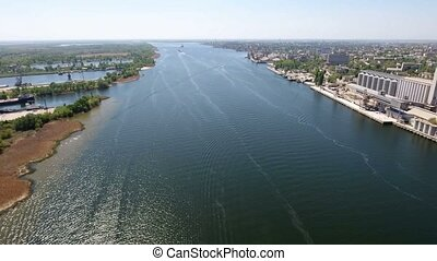 Aerial shot of the Dnipro river embankment in Kherson with a...