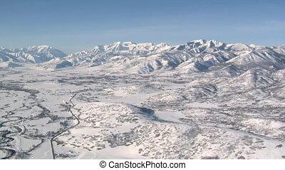 aerial shot of the Heber Valley Utah in winter