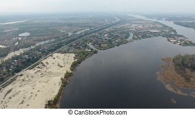 Aerial shot of the inflows and lakes at the coastline of the Dnipro river
