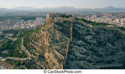 Aerial shot of the Santa Barbara castle in Alicante, Spain