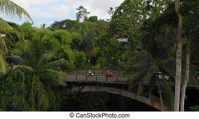 Aerial shot of the transport bridge in a centre of the Ubud...