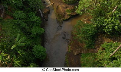 Aerial shot of the tropical river around the Pura Gunung...