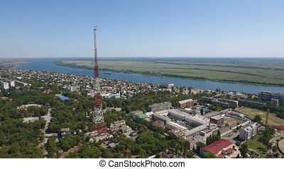 Aerial shot of the TV tower on the Dnipro bank with high...