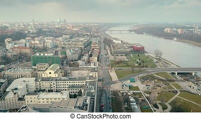 Aerial shot of the Vistula river embankment in Warsaw in...