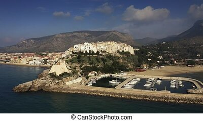 Aerial shot of town of Sperlonga and ancient Torre Truglia ...