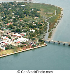 aerial shot of town