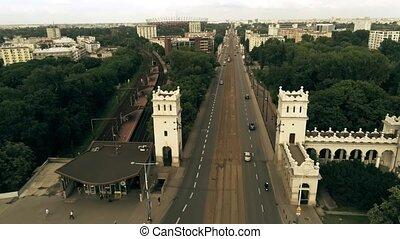 Aerial shot of tram and road traffic on the Poniatowski Bridge, Warsaw