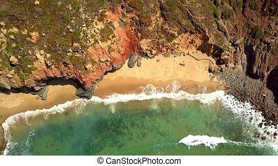 Aerial shot of tropical coast