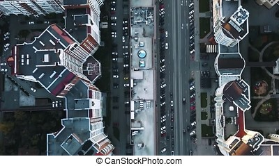 Aerial shot of urban road intersection on a sunny day, top...
