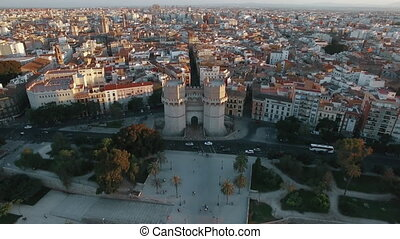 Aerial shot of Valencia with Serranos Towers, Spain - Aerial...
