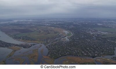 Aerial shot of village - Aerial shot of small village and...