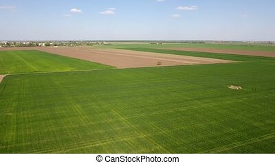 Aerial shot of well planted agricultural fields spreading to a faraway village