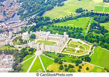 Windsor castle - Aerial shot of Windsor castle in England