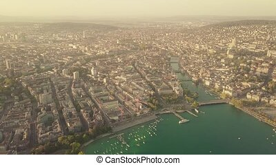 Aerial shot of Zurich center and the Limmat river in...