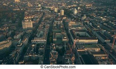 Aerial shot of Zurich cityscape