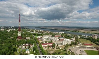 Aerial shot ot Kherson cityscape and the Dnipro river in a sunny day in spring