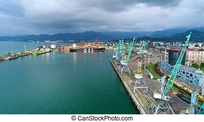 Aerial shot over the industrial sea port in Batumi
