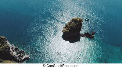 Aerial shot top view video of Camel Rock in Nui Bay at Phi...