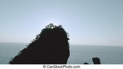 Aerial shot video of Camel Rock in Nui Bay at Phi Phi Don...