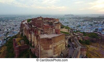 Aerial view of mehrangarh fort in Jodhpur, Rajasthan, India....