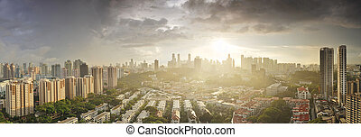 Aerial Singapore skyline from Tiong Bahru area at sunrise