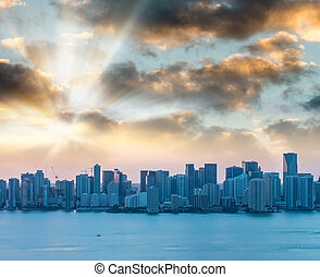 Aerial skyline of Downtown Miami
