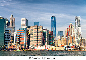 Aerial skyline of New York City