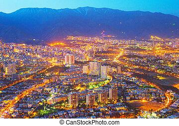 Aerial skyline Tehran twilight. Iran