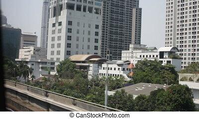 Aerial skyline view of express way in Bangkok
