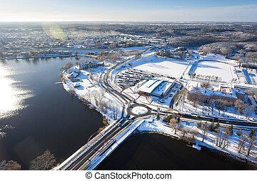 Aerial snowy town