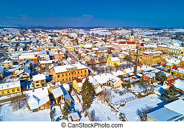 Aerial snowy winter view of Krizevci, town in Prigorje,...