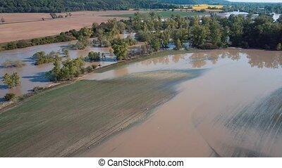 Aerial spring river flood in forest