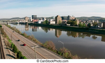 Aerial Static View Over Kanawha River and Charleston West...