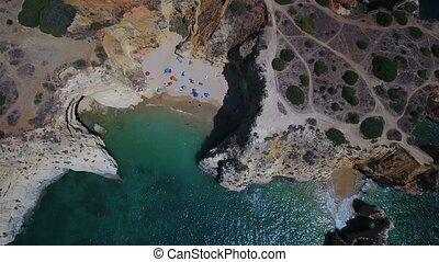 aerial., strände, und, felsig, ufer, von, portimao., praia, joao, arens
