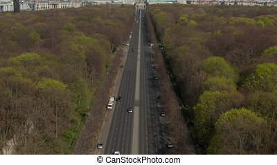AERIAL: Strasse des 17. Juni with Pan up to reveal Brandenburg Gate in Berlin, Germany on Sunny Day HD