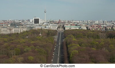 AERIAL: Strasse des 17. Juni with View on Brandenburg Gate in Berlin, Germany on Sunny Day HD