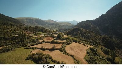 Aerial, Stunning Landscapes Around Serveto Mountain Village,...