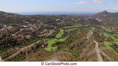 Aerial. Stunning View of Costa Del Sol Mountains from Flying...