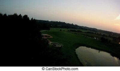 Aerial summer lake view