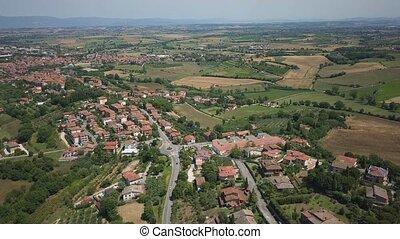 Aerial summer rural landscape of Tuscany