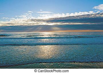 Aerial sunset at the atlantic ocean