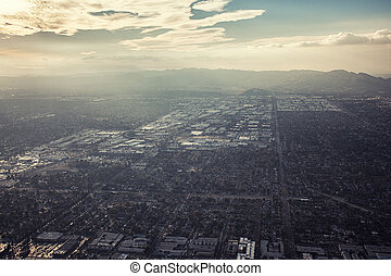 Aerial sunset view of Los Angeles, California