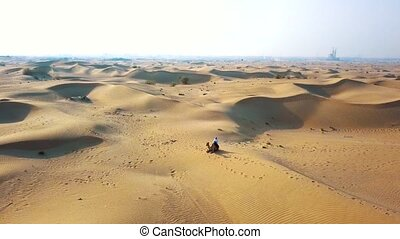 Aerial survey drone flies over the desert, Bedouin with a...