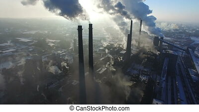 Aerial survey factory chimneys - Flying over smoke steel...